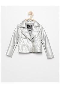 Bőrhatású, ezüstszínű motoros dzseki