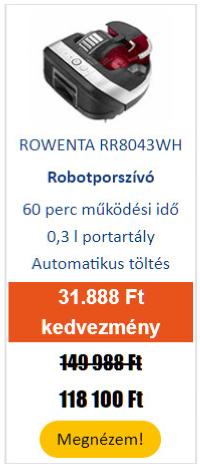 Többet adunk - ROWENTA RR8043WH Smart Force Cyclonic Robotporszívó