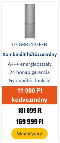 LG GBB71PZEFN Alulfagyasztós kombinált hűtőszekrény, Inox