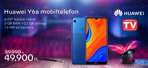 Huawei Y6s Mobiltelefon, Kártyafüggetlen, Dual SIM, 32GB, LTE, Éjfekete