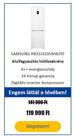 Energiatakarékos hűtőgép - SAMSUNG RB33J3205WW/EF Alulfagyasztós hűtőszekrény