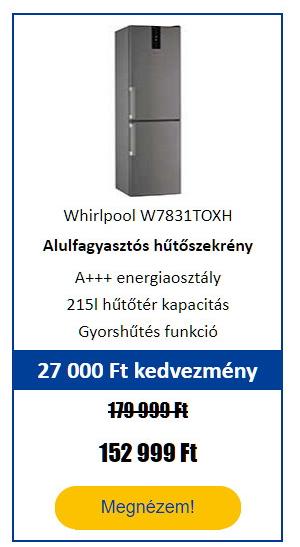 Energiatakarékos hűtőgép - Whirlpool W7831TOXH Alulfagyasztós kombinált hűtőszekrény, Inox
