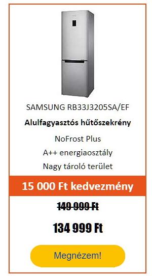 Energiatakarékos hűtőgép - SAMSUNG RB33J3205SA/EF Alulfagyasztós hűtőszekrény