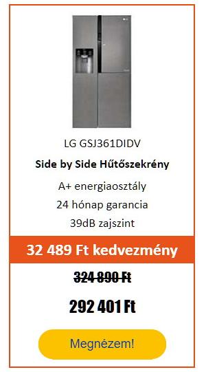 Energiatakarékos hűtőgép - LG GSJ361DIDV Side by Side Hűtőszekrény