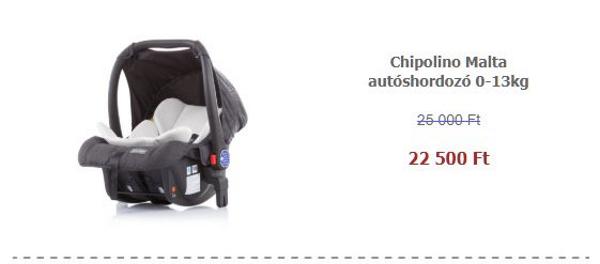 Autósülés akció – Chipolino Malta autóshordozó 0-13kg